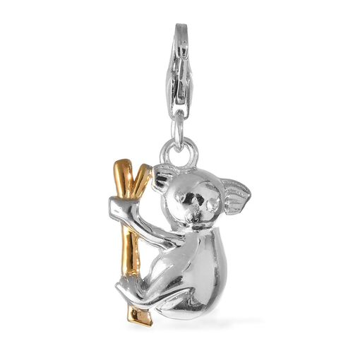 Platinum and Yellow Gold Overlay Sterling Silver Cute Baby Koala Charm