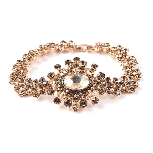 Simulated Champagne Diamond and Champagne Colour Crystal Victorian Bracelet in Gold Tone 7.5 Inch