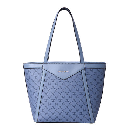 LOCK SOUL Blue Tote Bag with Checker Pattern