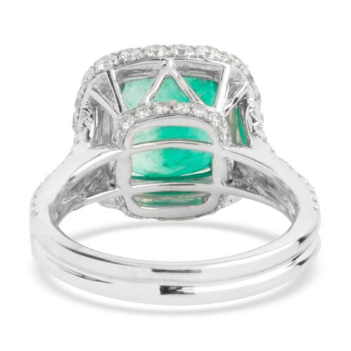 Signature Collection - 950 Platinum AAAAA Boyaca Colombian Emerald, Diamond (SI & I1-G-H) Ring 4.940 Ct, Platinum wt 8.49 Gms.