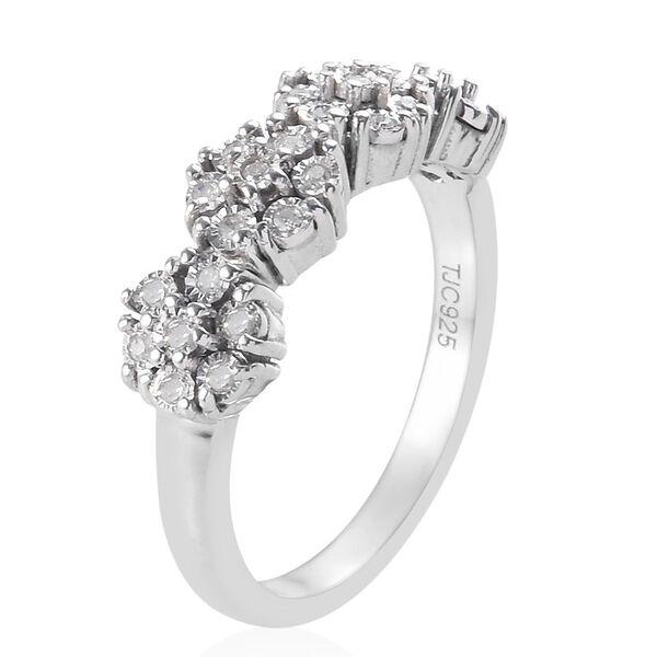 GP - Diamond (Rnd), Blue Sapphire Ring in Platinum Overlay Sterling Silver