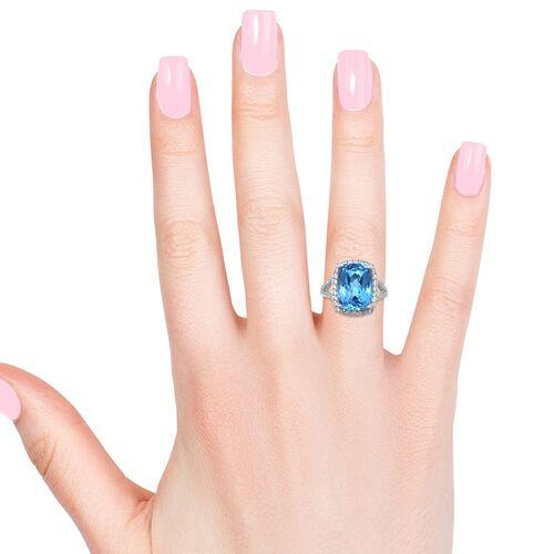 Marambaia Topaz (Cush 12.50 Ct), Natural Cambodian Zircon Ring in Platinum Overlay Sterling Silver 13.500 Ct.