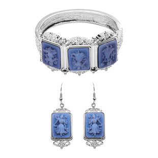 2 Piece Set -  Cameo Bangle and Hook Earrings in Silver Tone