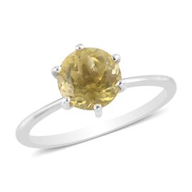 Yellow Apatite Solitaire Ring in Platinum Overlay Sterling Silver 1.25 Ct.