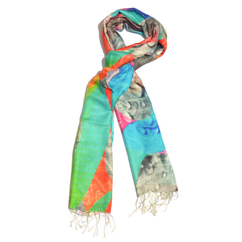100% Katan Silk Turquoise, Pink and Multi Colour Digital Print Abstract Pattern Scarf with Tassels (