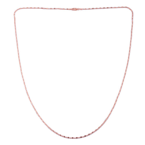 Vicenza Collection Rose Gold Overlay Sterling Silver Diamond Cut Flat Mariner Chain (Size 30), Silver wt. 4.20 Gms.