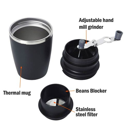 Portable Coffee Grinder (Size 8.6x18.6 cm) - Black