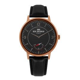 BEN SHERMAN Matte Black Dial Watch with Black Leather Strap