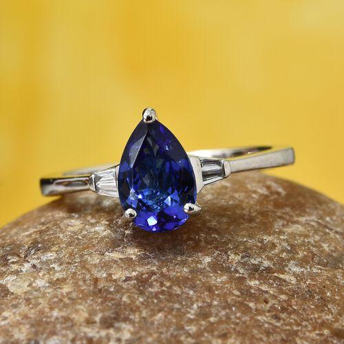 Rhapsody AAAA Tanzanite (1.65 Ct) and Diamond 950 Platinum Ring  1.700  Ct.