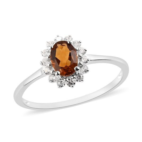 AA Red Citrine and Natural Cambodian Zircon Halo Ring in Sterling Silver 1.16 Ct.