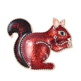 Enamelled Squirrel Brooch in Gold Tone
