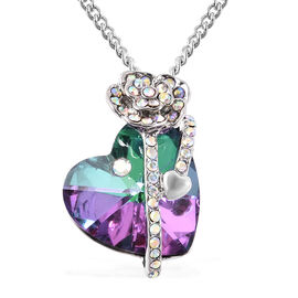 Simulated Green Mystic Topaz and White AB Austrian Crystal Heart and Rose Necklace (Size 20 with 2 i