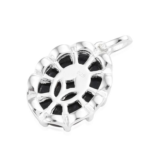 Black Jade (Ovl) Solitaire Pendant in Sterling Silver 7.250 Ct.