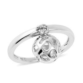 RACHEL GALLEY Rhodium Overlay Sterling Silver Dangling Lattice Globe Ring