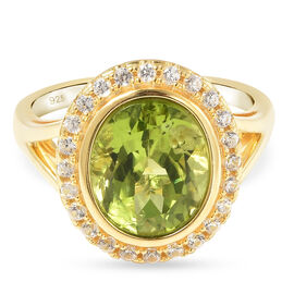 Natural Hebei Peridot and Natural Cambodian Zircon Ring in Yellow Gold Overlay Sterling Silver 4.28