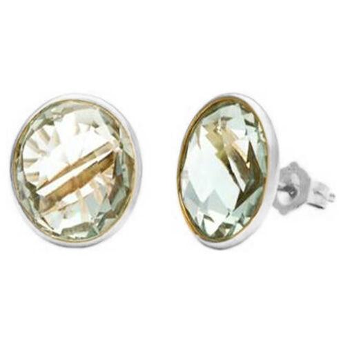 Green Amethyst (Rnd) Earrings in Sterling Silver  5.500 Ct.