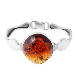 Baltic Amber (Ovl) Bangle (Size 7.5) in Sterling Silver, Silver wt 22.00 Gms Amber 50 Cts