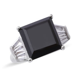 10.88 Ct Boi Ploi Black Spinel and White Topaz Soliatire Ring in Rhodium Plated Silver 5 Grams