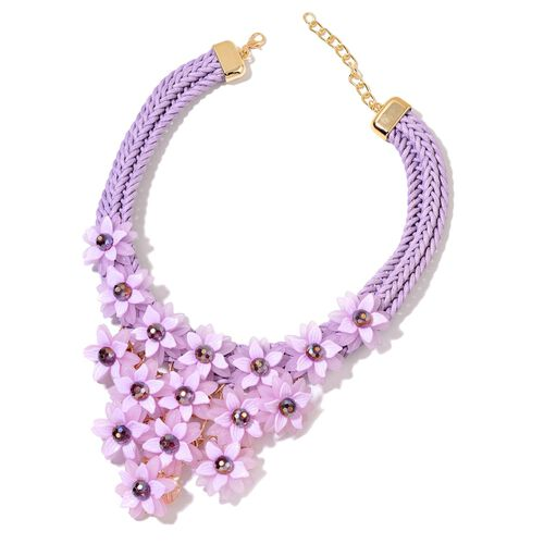 Simulated Amethyst Floral Necklace (Size 18 with 2 inch Extender) in Yellow Gold Tone