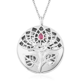 RACHEL GALLEY African Ruby Sacred Lotus Design Pendant with Chain (Size 30 with Extender) in Rhodium