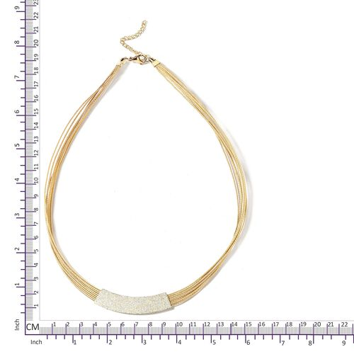 Stainless Steel 8 String Bar Necklace (Size 18 and 2 inch Extender) in Yellow Gold Plating