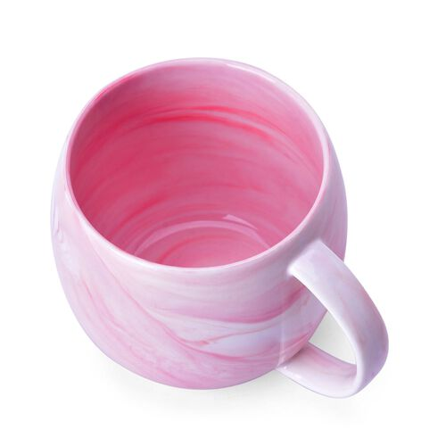 Set of 4 - Pink and White Colour Marble Pattern Ceramic Mug (Size 10X9 Cm)