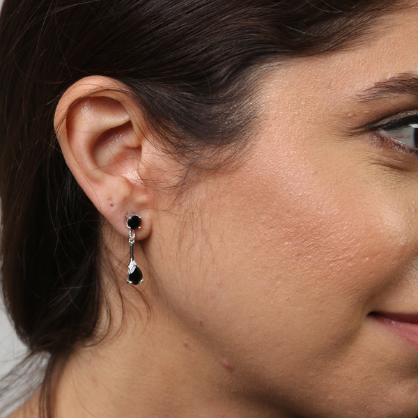 Boi Ploi Black Spinel (Pear and Rnd) Earrings (with Push Back) in Sterling Silver 3.000 Ct.