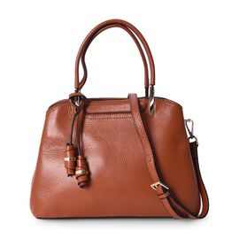 100% Genuine Leather Tote Bag with Detachable Shoulder Strap (Size 29.5x22.5x12 Cm) - Mustard