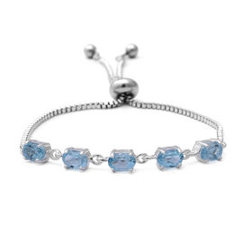 Sky Blue Topaz (Ovl) Bolo Bracelet (Size 6.5-8 Adjustable) in Sterling Silver and Steel 2.90 Ct.