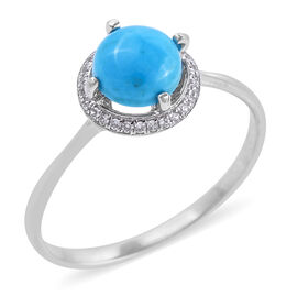 Bali Legacy Collection Arizona Sleeping Beauty Turquoise (Rnd), Natural White Cambodian Zircon Ring in Sterling Silver 1.360 Ct.