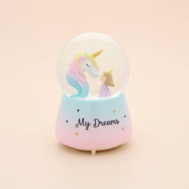 Unicorn and Girl Water Globe with Music and Glitter - (Requires 3xAAA Batteries - Not Inc)
