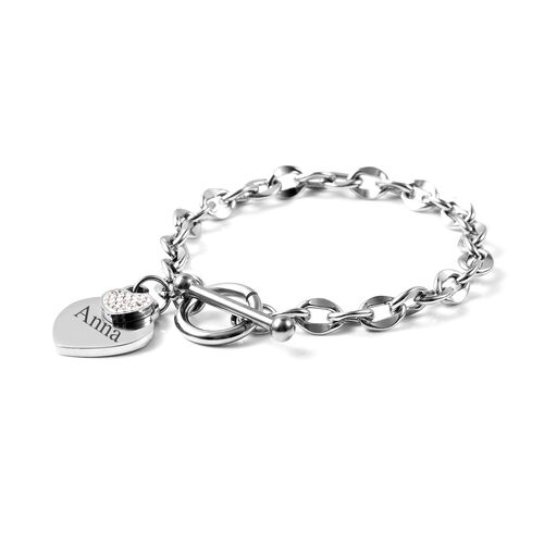 Personalise Engravable Double Heart Name Bracelet, Size 7 Inch, Stainless Steel