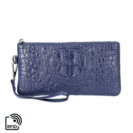 100% Genuine Leather RFID Protected Croc Embossed Wristlet (Size 20x10 Cm) - Navy