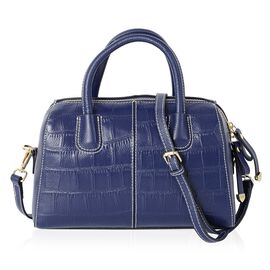 PREMIER COLLECTION 100% Genuine Leather Navy Blue Colour Croc Embossed Tote Bag with Removable Shoul