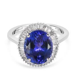 RHAPSODY 950 Platinum AAAA Tanzanite (3.99 Cts ) and Diamond (VS/E-F 0.28 Cts) Ring 4.27 Ct, Platinu