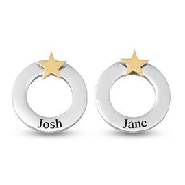 Personalised Engravable Polo Round Stud Earrings with Star, in Silver Tone