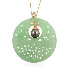 Extremely Rare- Green Jade (Fancy 48x48 mm, 58.500 Ct.), Tahitian Pearl, Natural Cambodian White Zircon Floral Pendant with Chain (Size 18) in Yellow Gold Overlay Sterling Silver 64.310 Ct.
