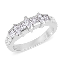 Signature Collection 0.70 Ct Diamond Princess Cut Band Ring in 950 Platinum SGL Certified SI GH