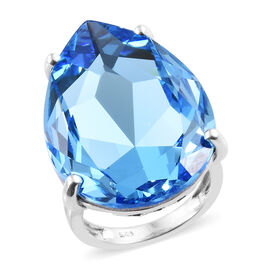 Crystal from Swarovski - Aquamarine Colour Crystal (27.50 Ct) Platinum Overlay Sterling Silver Ring  27.500  Ct.