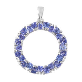 Tanzanite (Tri) Circle Pendant in Platinum Overlay Sterling Silver 2.750 Ct.