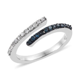 Blue and White Diamond (Rnd) Bypass Ring in Platinum Overlay Sterling Silver 0.330 Ct.