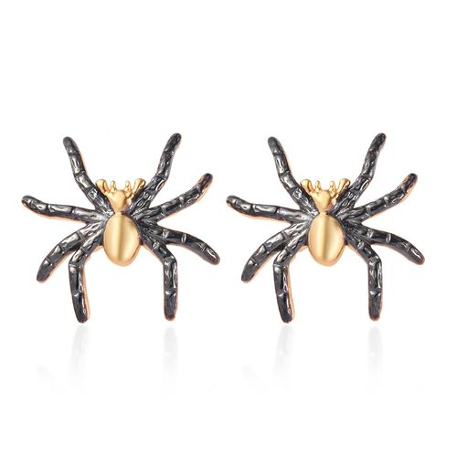 14K Gold and Black Overlay Sterling Silver Spider Earrings (with Push Back)