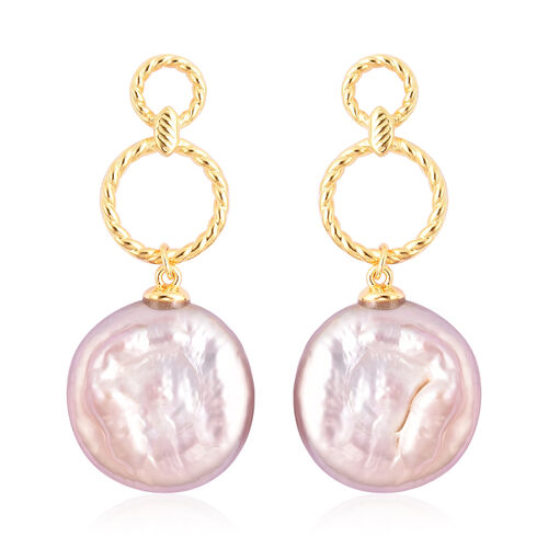 Multi Colour Baroque Pearl Earrings (with Push Back) in Yellow Gold Overlay Sterling Silver
