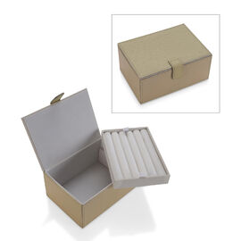 2-Tier Alligator Pattern Leather Jewellery Storage Box with Magnetic Flap (Size 18x13x9 Cm) - Ivory