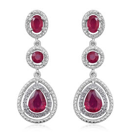African Ruby (Pear), Natural White Cambodian Zircon Earrings (with Push Back) in Rhodium Plated Sterling Silver 6.100 Ct.