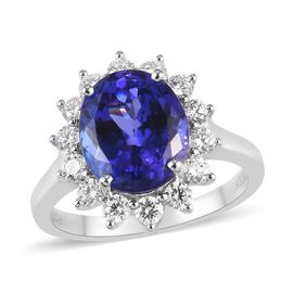 RHAPSODY 950 Platinum AAAA Tanzanite and White Diamond Ring 5.00 Ct, Platinum wt. 6.37 Gms