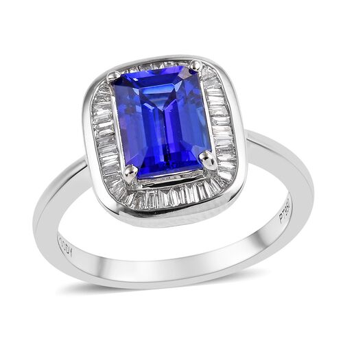 RHAPSODY 1.65 Ct AAAA Tanzanite and Diamond Halo Ring in 950 Platinum 5.90 VS EF
