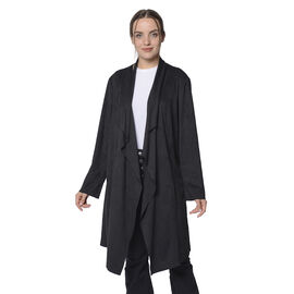 LA MAREY Faux Suede Long Waterfall Open Front Jacket in Black Colour