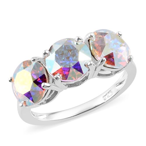 J Francis AB Crystal from Swarovski Trilogy Ring in Sterling Silver