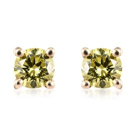 9K Yellow Gold Yellow Diamond (Rnd) Stud Earrings (with Push Back) , 0.20 Ct.
